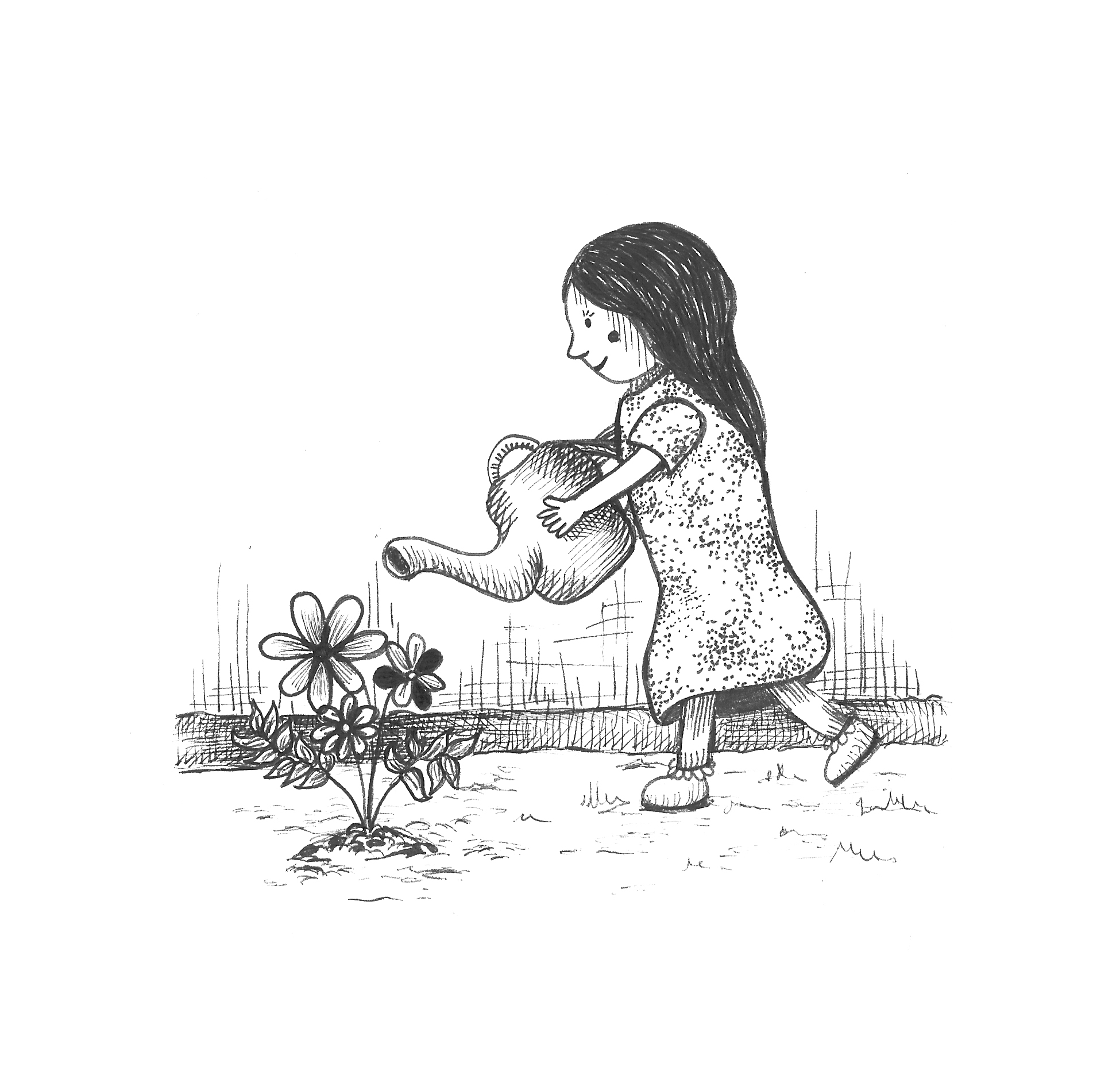 The little girl watering flowers
