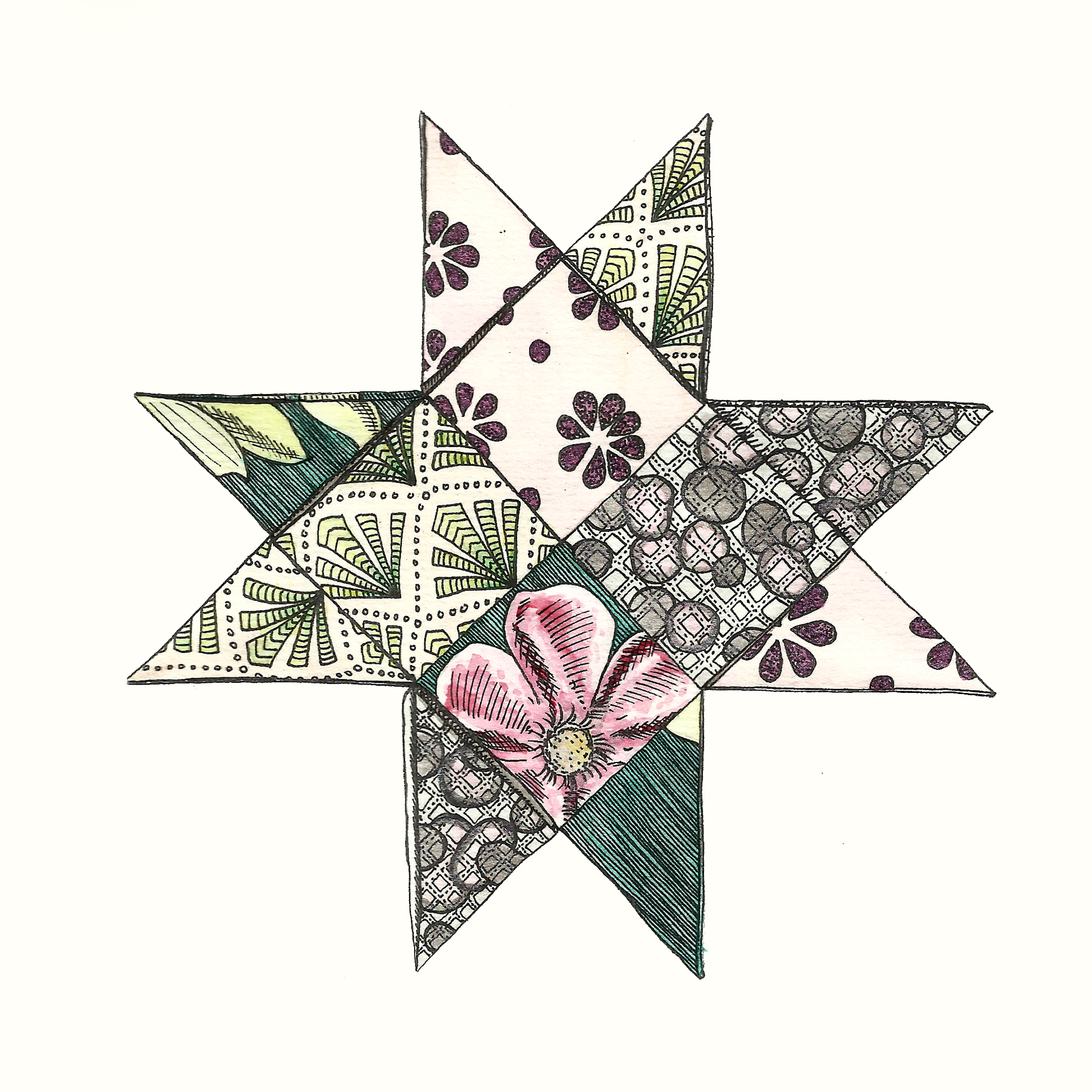 Pattern Star II in pinks and greens