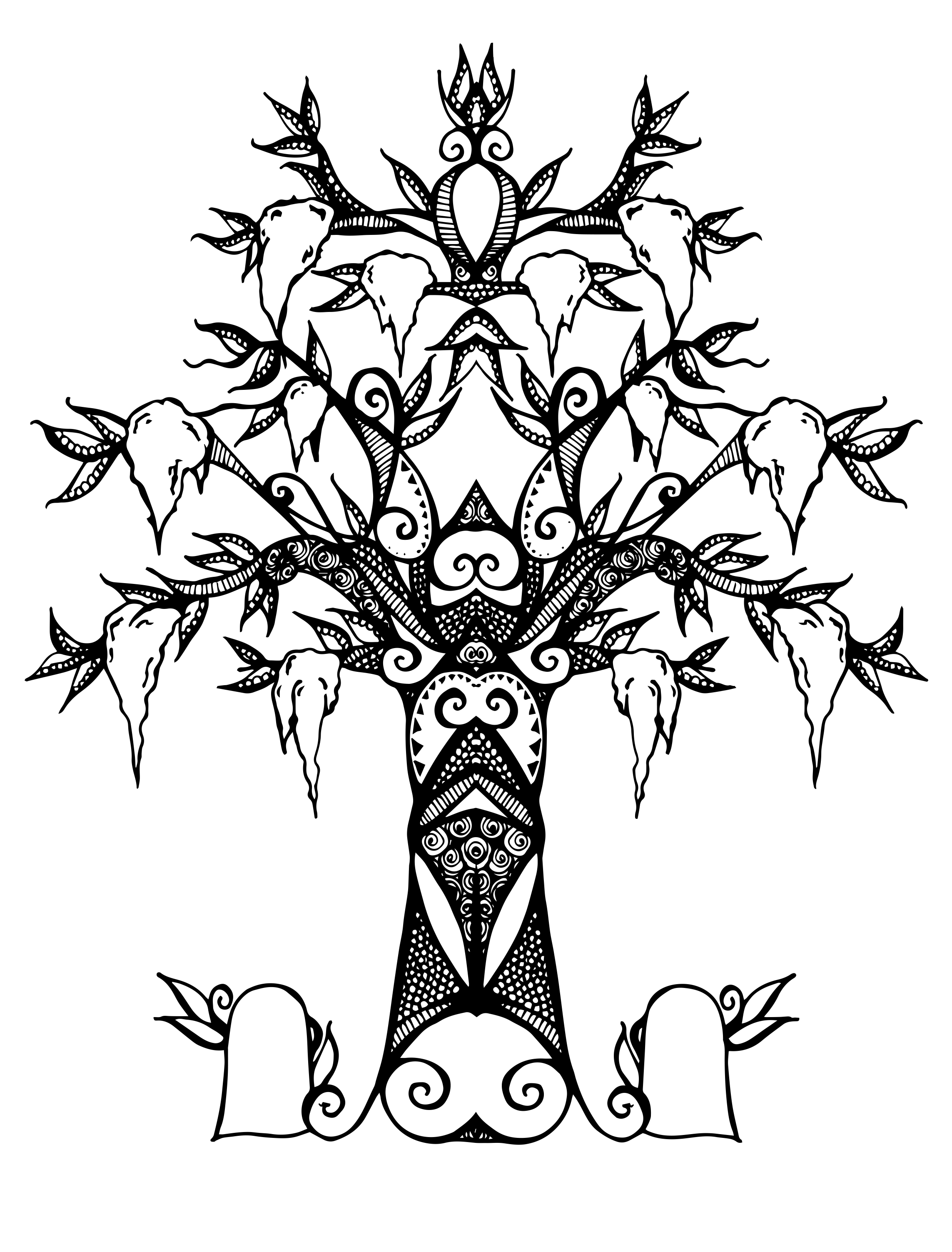 Another vector Spanish moss tree – spot illustration ...