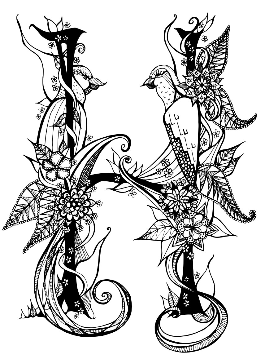 Posted In Illustrations Tagged Animals Art Artist Bird Birds Black And White Card Decorative Design Drawing Flowers H Illustration Illustrator