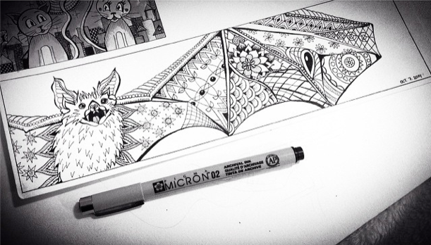 Inktober 7 – Pattern Bat!