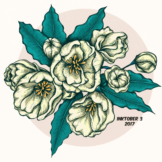 inktober 3 flowers
